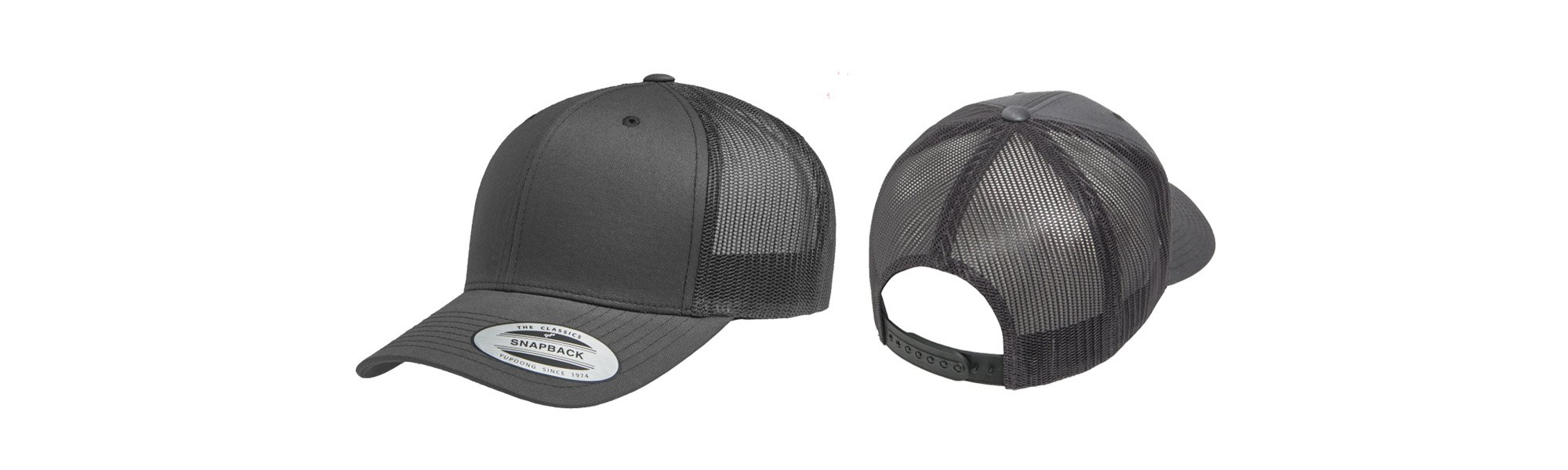 e4eca27546563 Our Retro/Trucker Flexfit style features a buckram reinforced front and mesh  side and back panels. Available in single color or two-tone this style only  ...