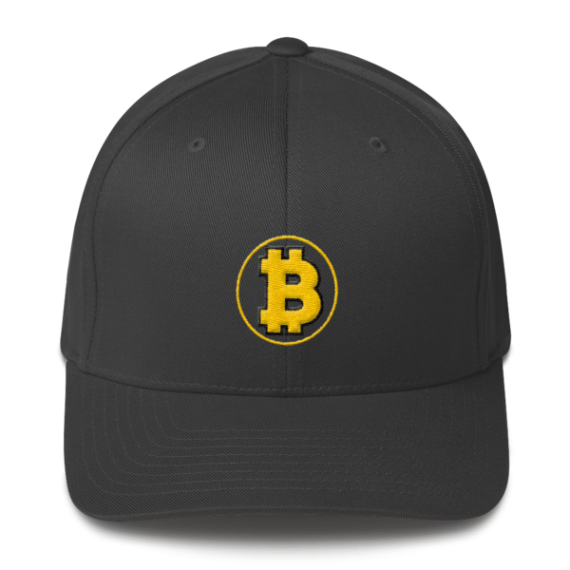 Bitcoin: The Original – 3D Puff – Flexfit Structured Cap - Dark Grey - Front