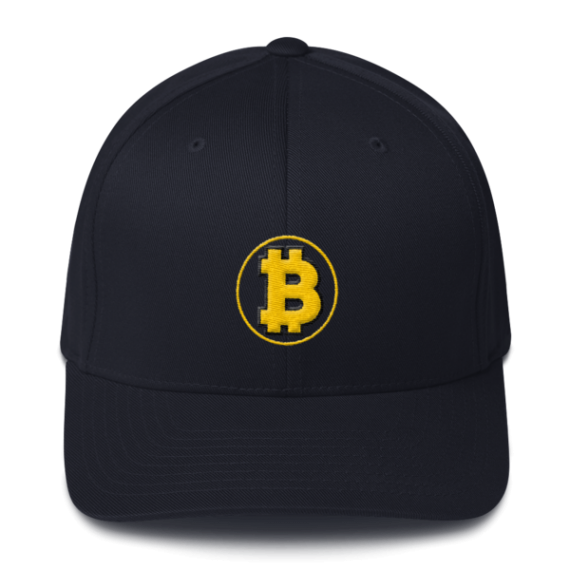 Bitcoin: The Original – 3D Puff – Flexfit Structured Cap - Dark Navy - Front
