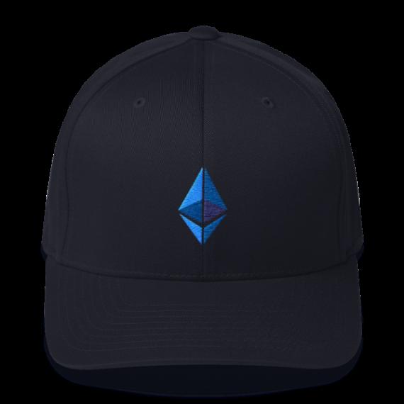 Ethereum logo – Flexfit Structured Cap - Dark Navy - Front