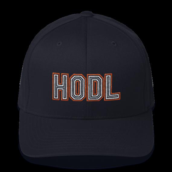 HODL – Flexfit Structured Cap – Gold/White/Grey - Dark Navy - Front
