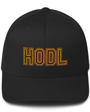 HODL - Flexfit Structured Cap – Gold/Yellow/Maroon - Black - Front