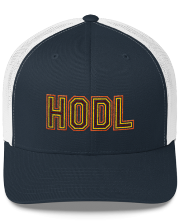 HODL - Retro Trucker Cap - Gold/Yellow/Maroon - Navy/White - Front