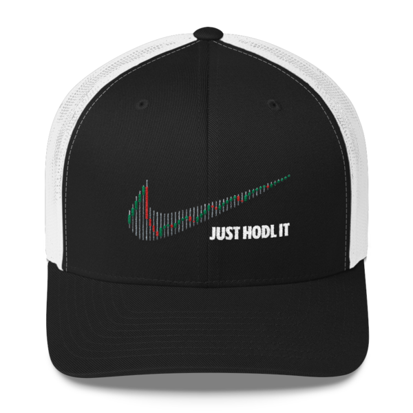 Just HODL it \u2013 Retro Trucker Cap - Black/White Front \u2022 CryptoBantam